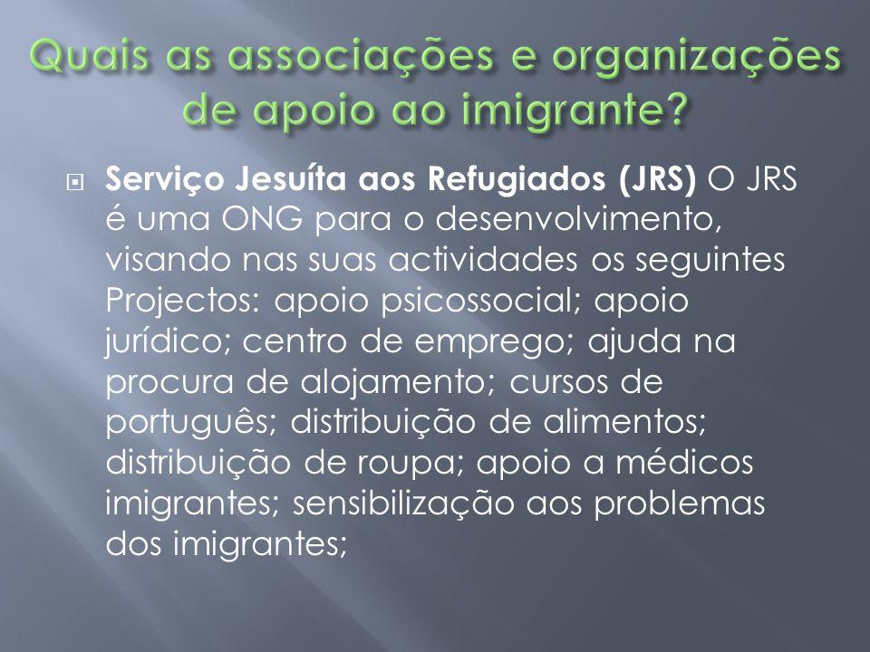  Serviço Jesuíta aos Refugiados (JRS) O JRS é uma ONG para o desenvolvimento, visando nas suas actividades os seguintes Projectos: apoio psicossocial