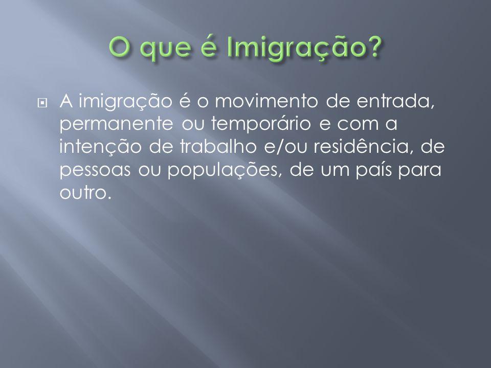  A imigração é o movimento de entrada, permanente ou temporário e com a intenção de trabalho e/ou residência, de pessoas ou populações, de um país pa
