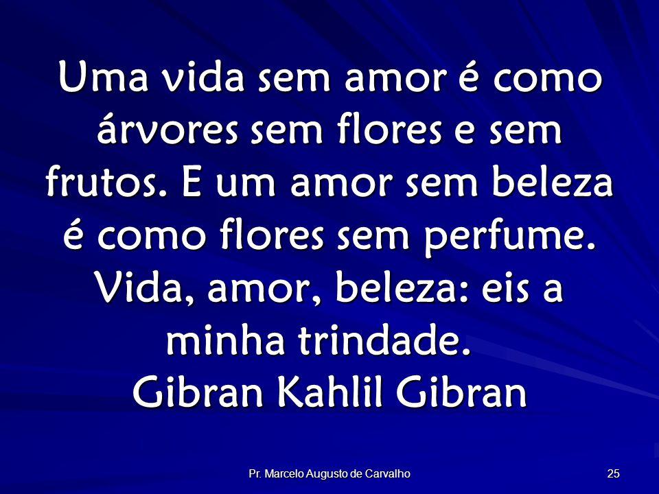 Pr. Marcelo Augusto de Carvalho 25 Uma vida sem amor é como árvores sem flores e sem frutos.