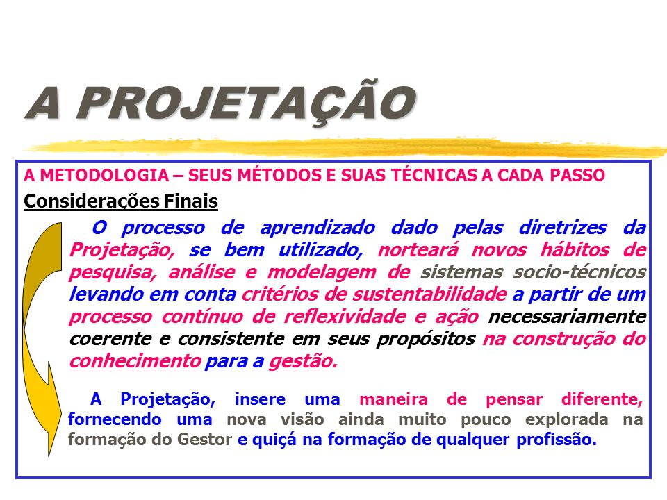A PROJETAÇÃO A METODOLOGIA – SEUS MÉTODOS E SUAS TÉCNICAS A CADA PASSO Considerações Finais O processo de aprendizado dado pelas diretrizes da Projeta