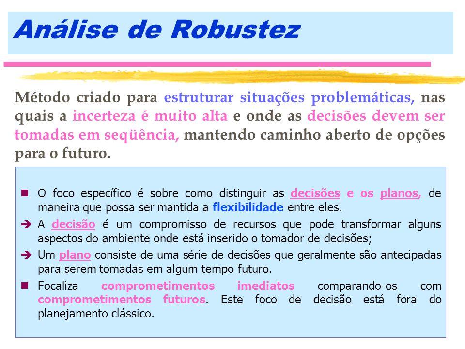Análise de Robustez nO foco específico é sobre como distinguir as decisões e os planos, de maneira que possa ser mantida a flexibilidade entre eles. è