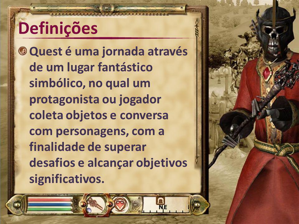 Definições Quest é uma jornada através de um lugar fantástico simbólico, no qual um protagonista ou jogador coleta objetos e conversa com personagens,
