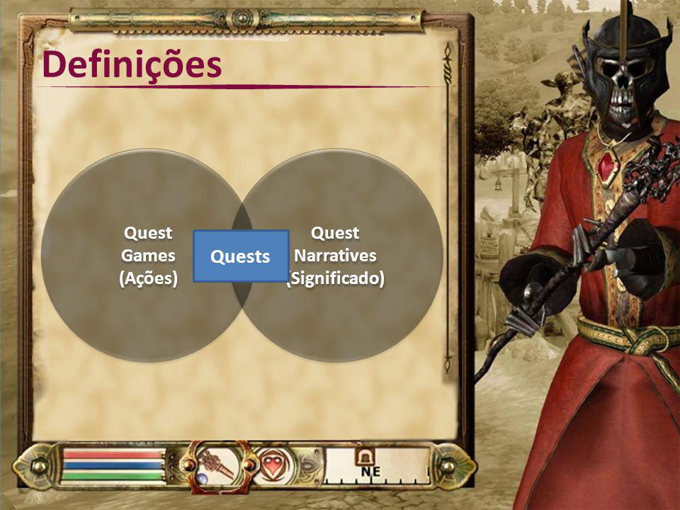 Definições Quest Games (Ações) Quest Narratives (Significado) Quests