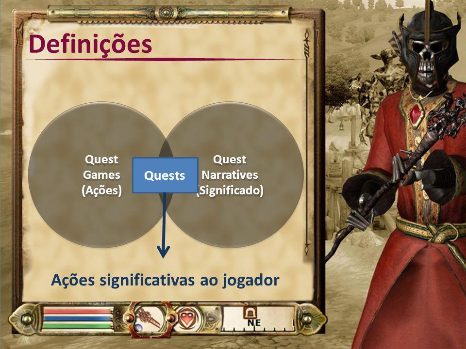 Definições Quest Games (Ações) Quest Narratives (Significado) Quests Ações significativas ao jogador