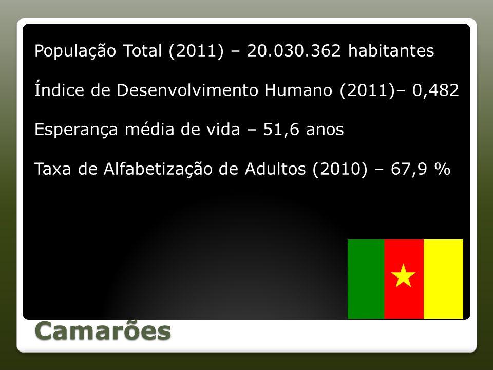 Camarões População Total (2011) – 20.030.362 habitantes Índice de Desenvolvimento Humano (2011)– 0,482 Esperança média de vida – 51,6 anos Taxa de Alf