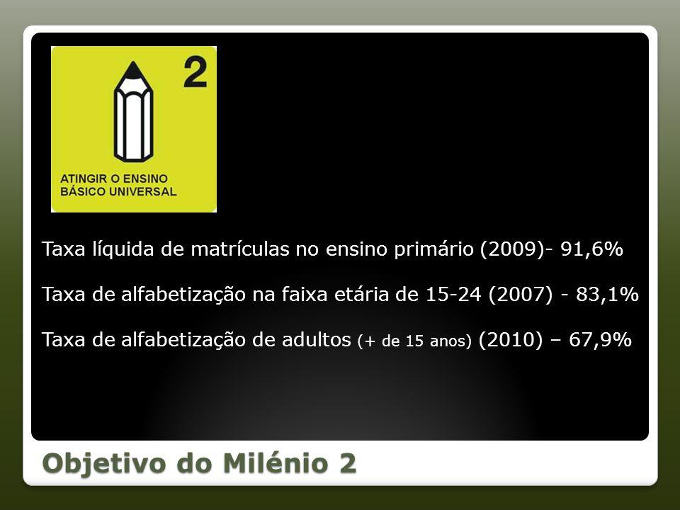 Objetivo do Milénio 2 Taxa líquida de matrículas no ensino primário (2009)- 91,6% Taxa de alfabetização na faixa etária de 15-24 (2007) - 83,1% Taxa d