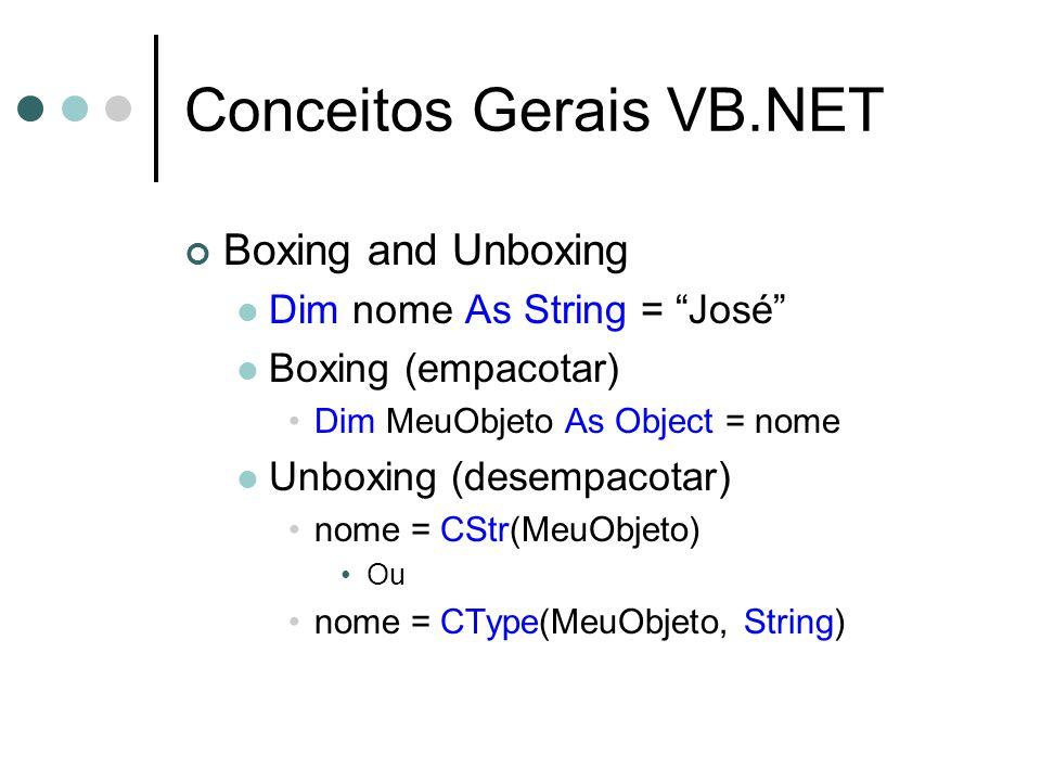 Conceitos Gerais VB.NET Boxing and Unboxing Dim nome As String = José Boxing (empacotar) Dim MeuObjeto As Object = nome Unboxing (desempacotar) nome = CStr(MeuObjeto) Ou nome = CType(MeuObjeto, String)