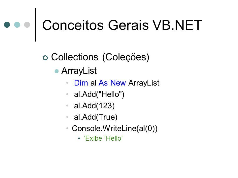 Conceitos Gerais VB.NET Collections (Coleções) ArrayList Dim al As New ArrayList al.Add(
