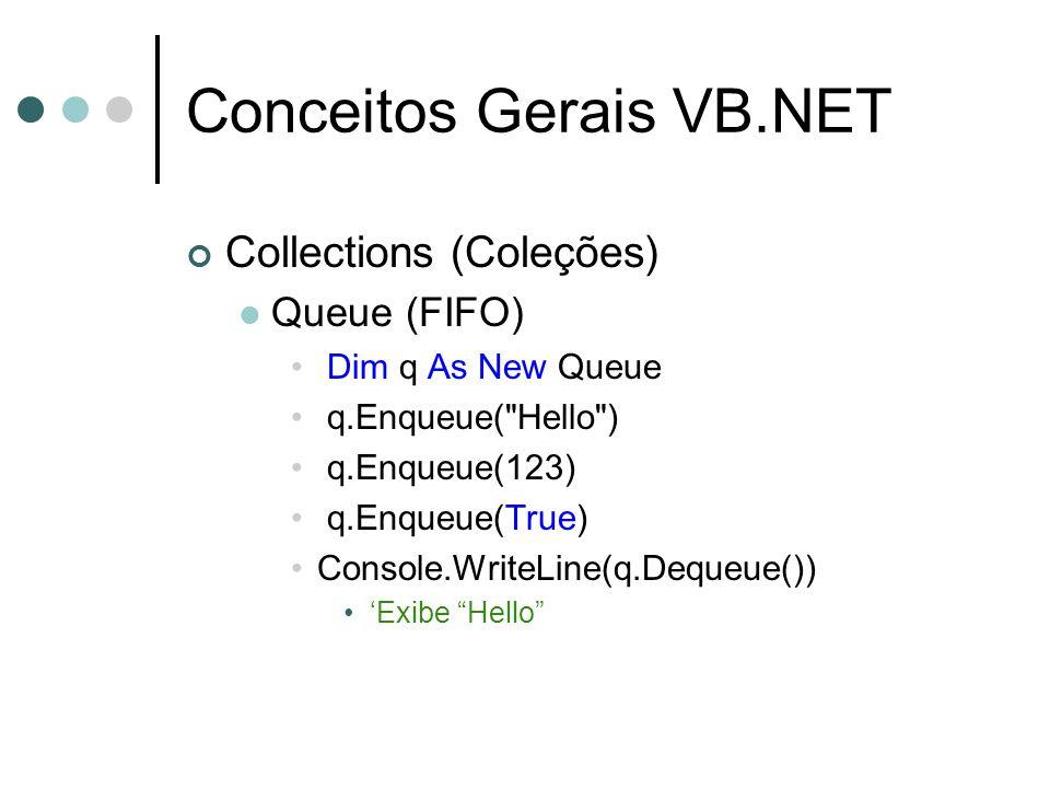 Conceitos Gerais VB.NET Collections (Coleções) Queue (FIFO) Dim q As New Queue q.Enqueue(