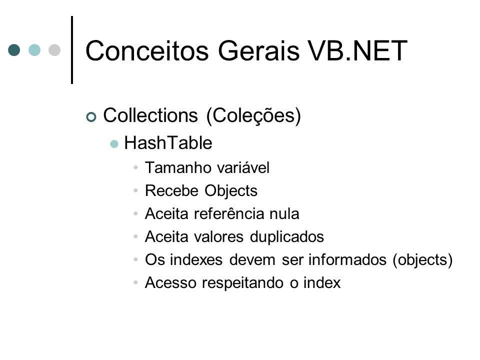 Conceitos Gerais VB.NET Collections (Coleções) HashTable Tamanho variável Recebe Objects Aceita referência nula Aceita valores duplicados Os indexes devem ser informados (objects) Acesso respeitando o index