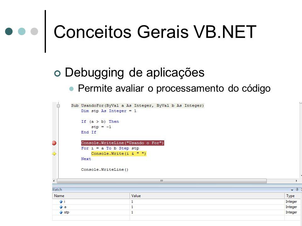 Conceitos Gerais VB.NET Debugging de aplicações Permite avaliar o processamento do código