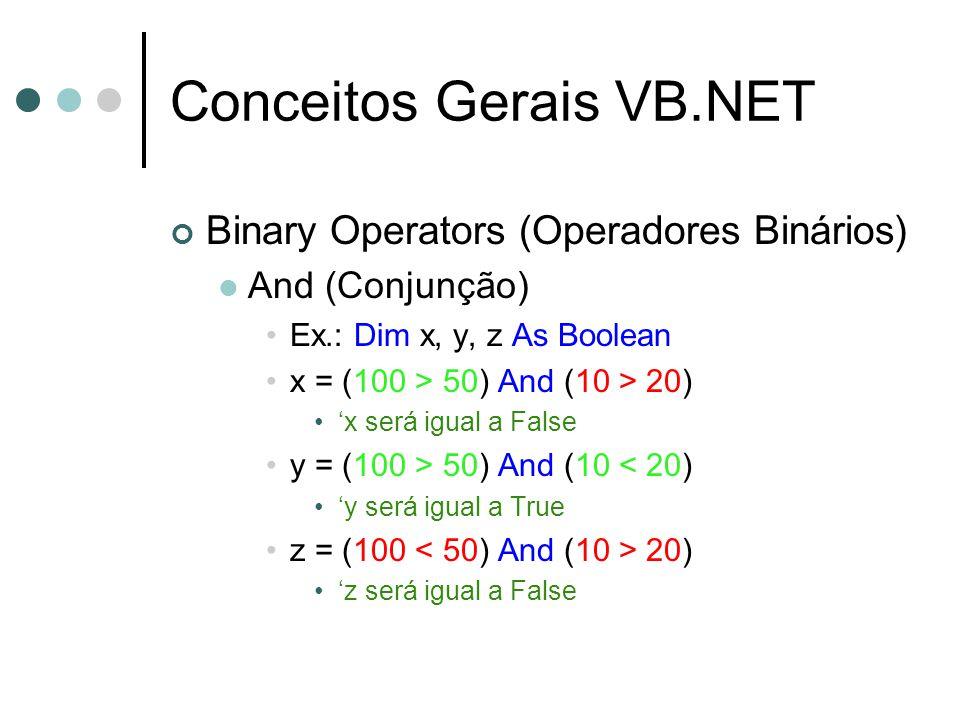 Conceitos Gerais VB.NET Binary Operators (Operadores Binários) And (Conjunção) Ex.: Dim x, y, z As Boolean x = (100 > 50) And (10 > 20) 'x será igual