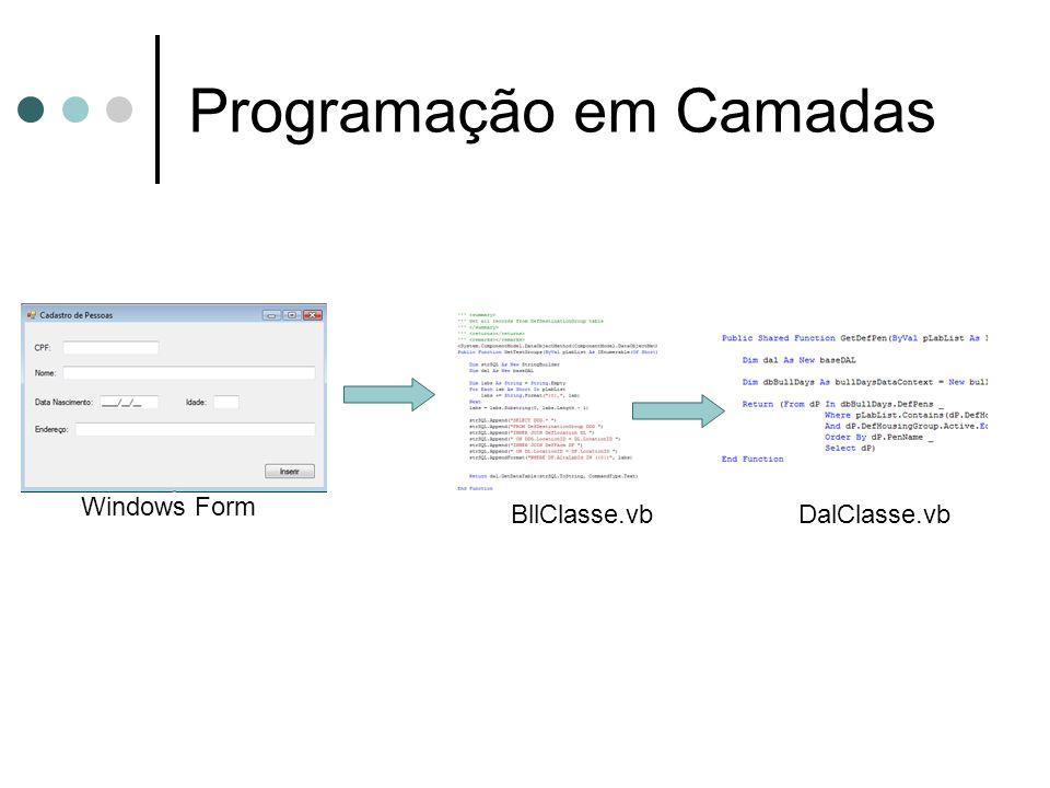 Programação em Camadas Windows Form BllClasse.vbDalClasse.vb