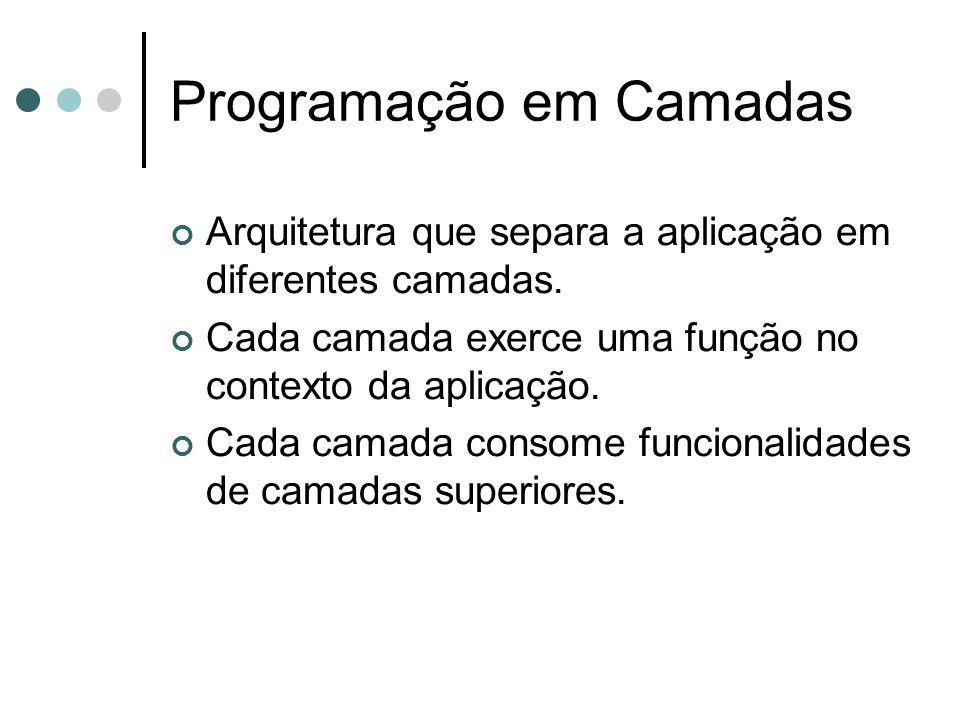 Programação em Camadas Arquitetura que separa a aplicação em diferentes camadas.