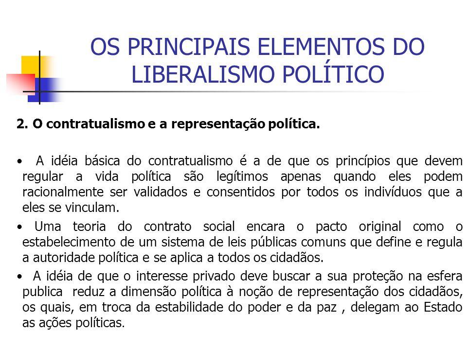 OS PRINCIPAIS ELEMENTOS DO LIBERALISMO POLÍTICO 2. O contratualismo e a representação política. A idéia básica do contratualismo é a de que os princíp