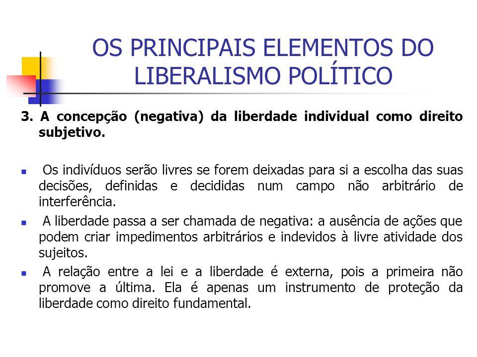 OS PRINCIPAIS ELEMENTOS DO LIBERALISMO POLÍTICO 3. A concepção (negativa) da liberdade individual como direito subjetivo. Os indivíduos serão livres s