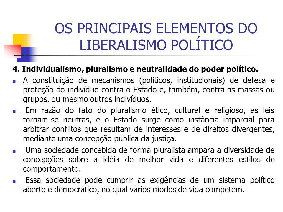 OS PRINCIPAIS ELEMENTOS DO LIBERALISMO POLÍTICO 4. Individualismo, pluralismo e neutralidade do poder político. A constituição de mecanismos (político