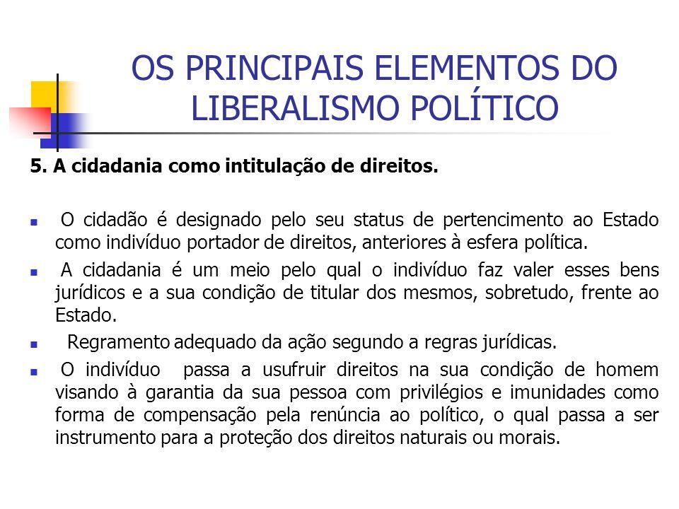 OS PRINCIPAIS ELEMENTOS DO LIBERALISMO POLÍTICO 5. A cidadania como intitulação de direitos. O cidadão é designado pelo seu status de pertencimento ao