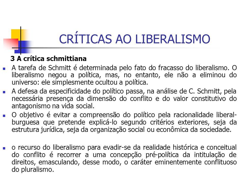 CRÍTICAS AO LIBERALISMO 3 A crítica schmittiana A tarefa de Schmitt é determinada pelo fato do fracasso do liberalismo. O liberalismo negou a política