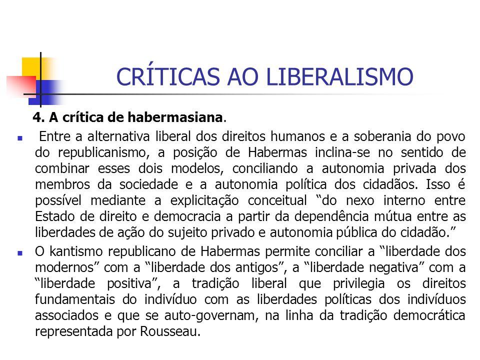 CRÍTICAS AO LIBERALISMO 4. A crítica de habermasiana. Entre a alternativa liberal dos direitos humanos e a soberania do povo do republicanismo, a posi