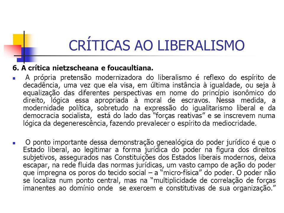 CRÍTICAS AO LIBERALISMO 6. A crítica nietzscheana e foucaultiana. A própria pretensão modernizadora do liberalismo é reflexo do espírito de decadência