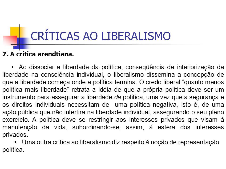CRÍTICAS AO LIBERALISMO 7. A crítica arendtiana. Ao dissociar a liberdade da política, conseqüência da interiorização da liberdade na consciência indi