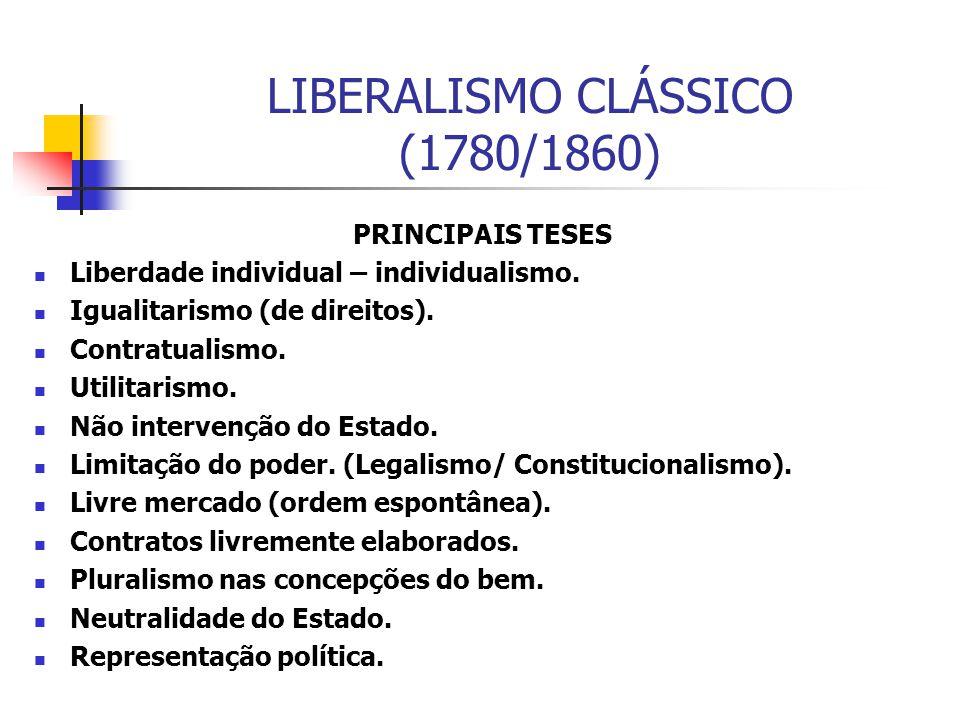 LIBERALISMO CLÁSSICO (1780/1860) PRINCIPAIS TESES Liberdade individual – individualismo. Igualitarismo (de direitos). Contratualismo. Utilitarismo. Nã
