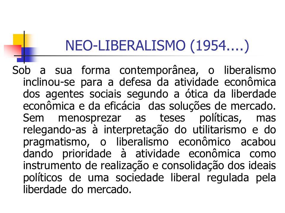 NEO-LIBERALISMO (1954....) Sob a sua forma contemporânea, o liberalismo inclinou-se para a defesa da atividade econômica dos agentes sociais segundo a