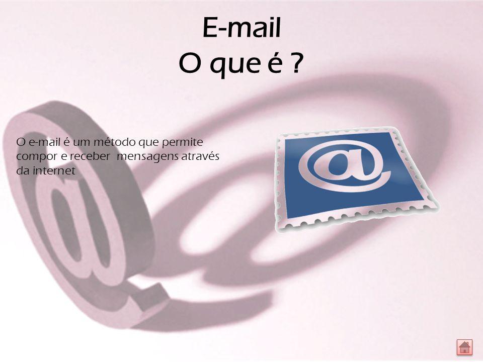 E-mail O que é O e-mail é um método que permite compor e receber mensagens através da internet