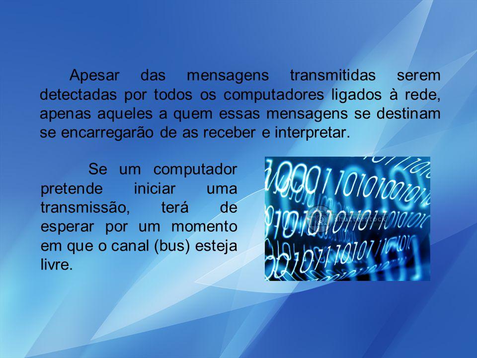 Apesar das mensagens transmitidas serem detectadas por todos os computadores ligados à rede, apenas aqueles a quem essas mensagens se destinam se enca