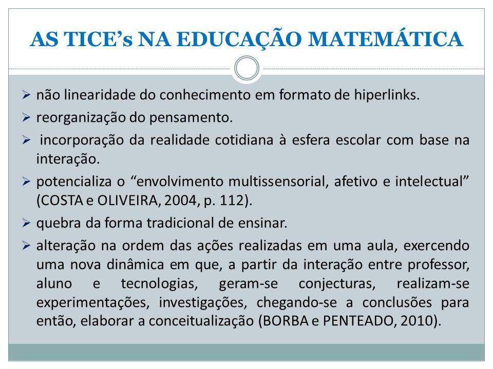 AS TICE's NA EDUCAÇÃO MATEMÁTICA  não linearidade do conhecimento em formato de hiperlinks.