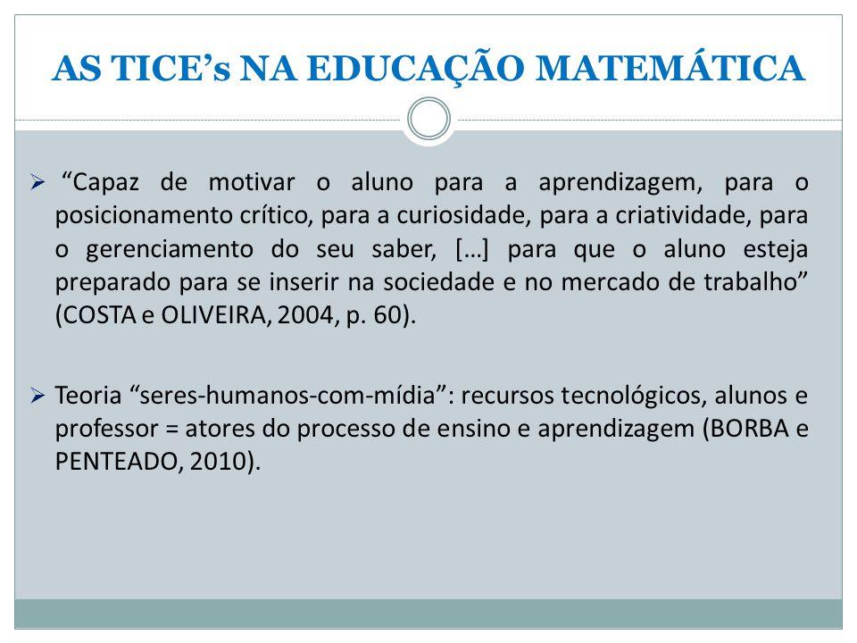 AS TICE's NA EDUCAÇÃO MATEMÁTICA  Capaz de motivar o aluno para a aprendizagem, para o posicionamento crítico, para a curiosidade, para a criatividade, para o gerenciamento do seu saber, […] para que o aluno esteja preparado para se inserir na sociedade e no mercado de trabalho (COSTA e OLIVEIRA, 2004, p.
