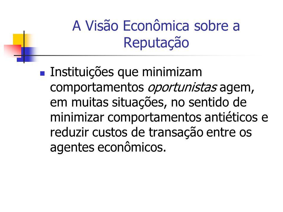 A Visão Econômica sobre a Reputação Instituições que minimizam comportamentos oportunistas agem, em muitas situações, no sentido de minimizar comporta