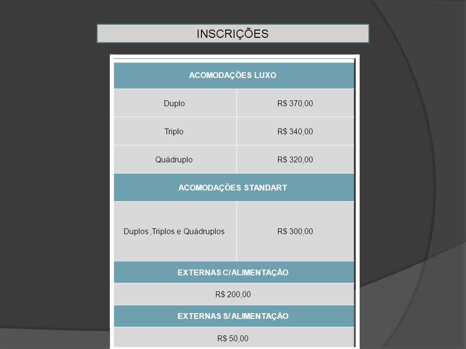 INSCRIÇÕES ACOMODAÇÕES LUXO DuploR$ 370,00 TriploR$ 340,00 QuádruploR$ 320,00 ACOMODAÇÕES STANDART Duplos,Triplos e QuádruplosR$ 300,00 EXTERNAS C/ ALIMENTAÇÂO R$ 200,00 EXTERNAS S/ ALIMENTAÇÂO R$ 50,00