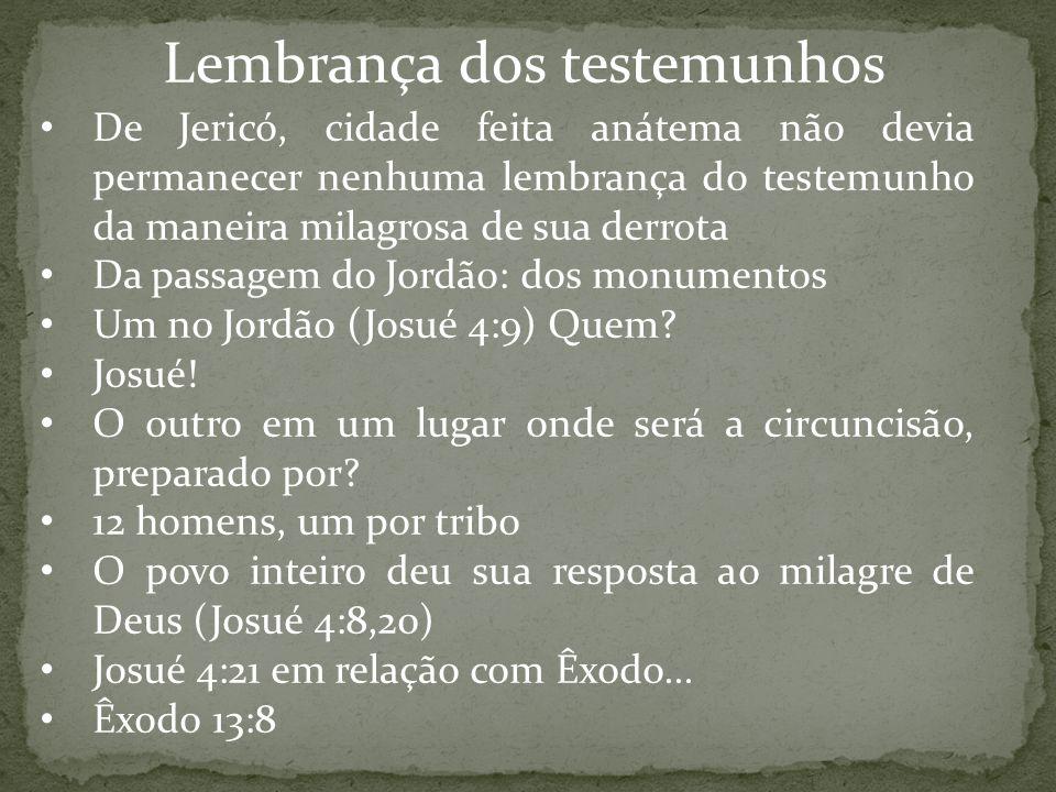 Lembrança dos testemunhos De Jericó, cidade feita anátema não devia permanecer nenhuma lembrança do testemunho da maneira milagrosa de sua derrota Da