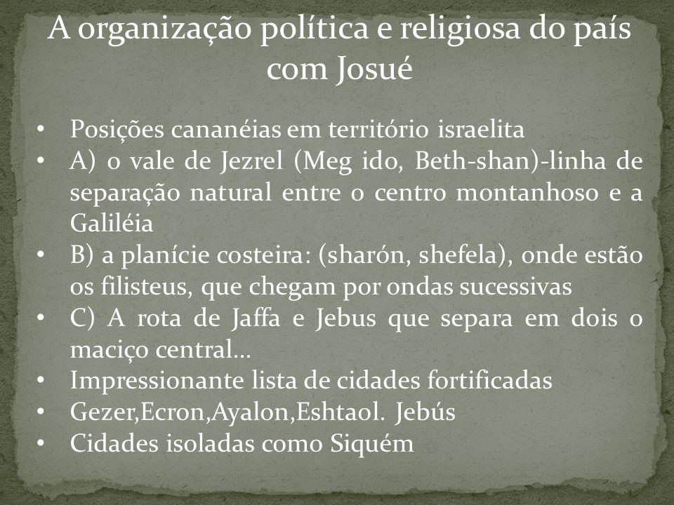A organização política e religiosa do país com Josué Posições cananéias em território israelita A) o vale de Jezrel (Meg ido, Beth-shan)-linha de sepa