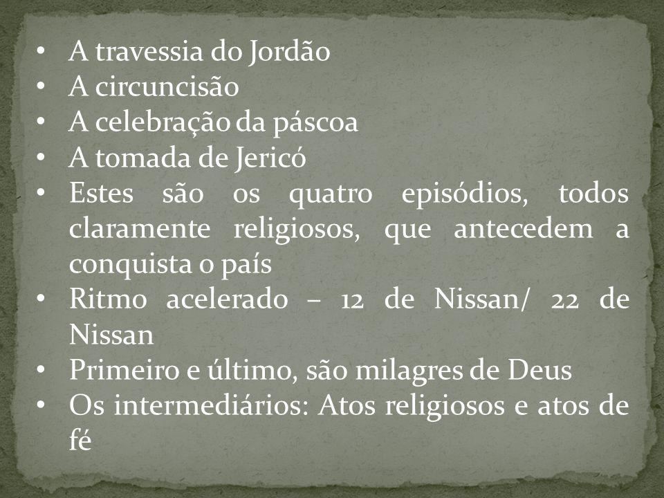 A travessia do Jordão A circuncisão A celebração da páscoa A tomada de Jericó Estes são os quatro episódios, todos claramente religiosos, que antecede