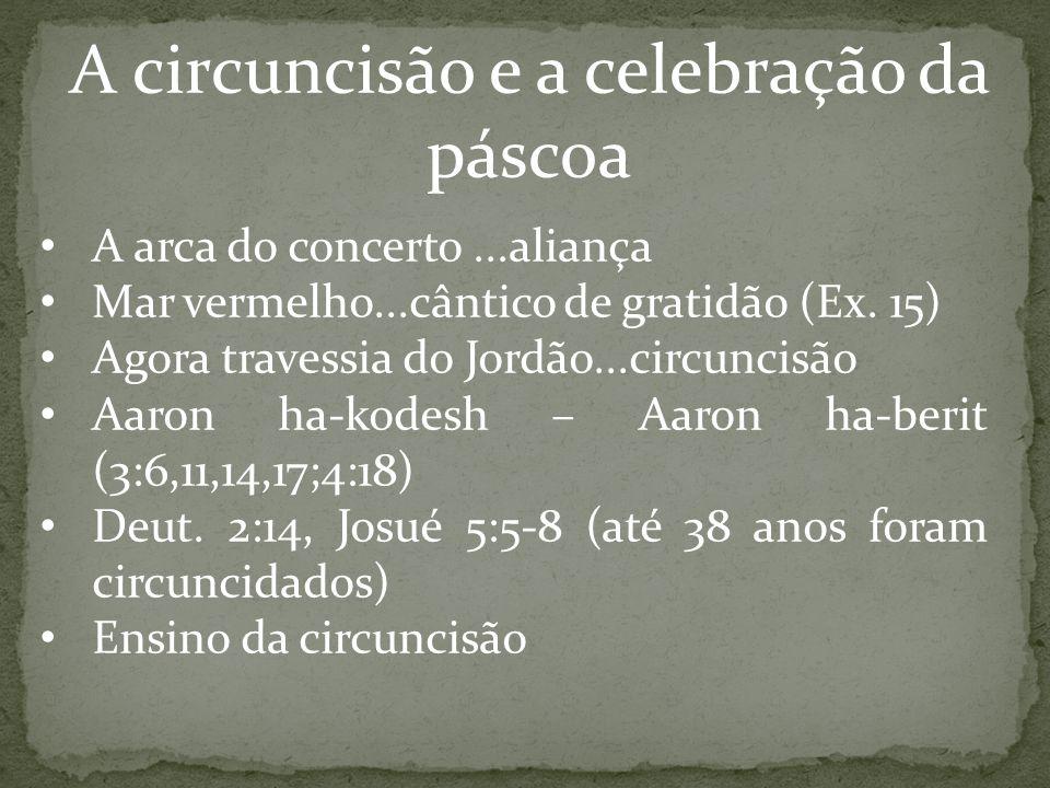 A circuncisão e a celebração da páscoa A arca do concerto...aliança Mar vermelho...cântico de gratidão (Ex. 15) Agora travessia do Jordão...circuncisã