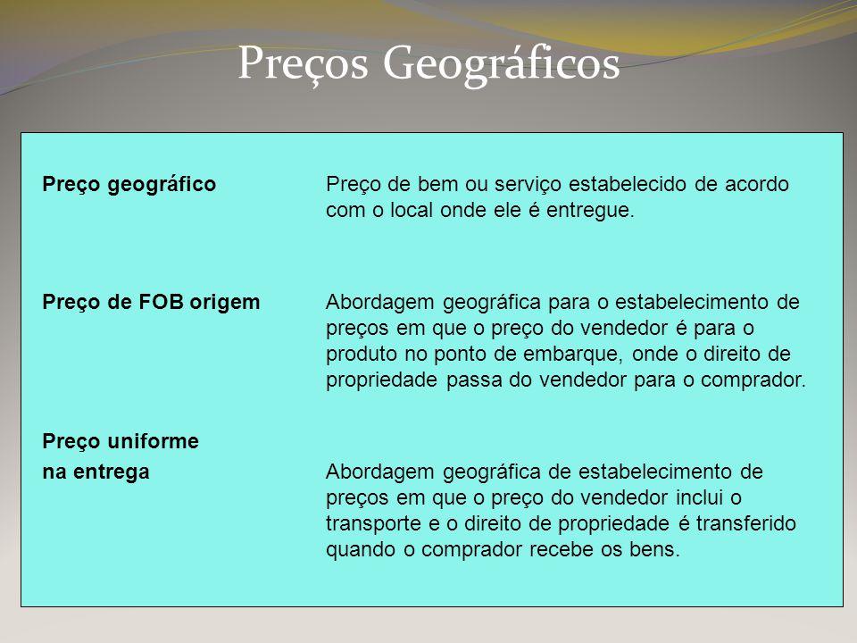 Preços Geográficos Preço geográficoPreço de bem ou serviço estabelecido de acordo com o local onde ele é entregue. Preço de FOB origemAbordagem geográ