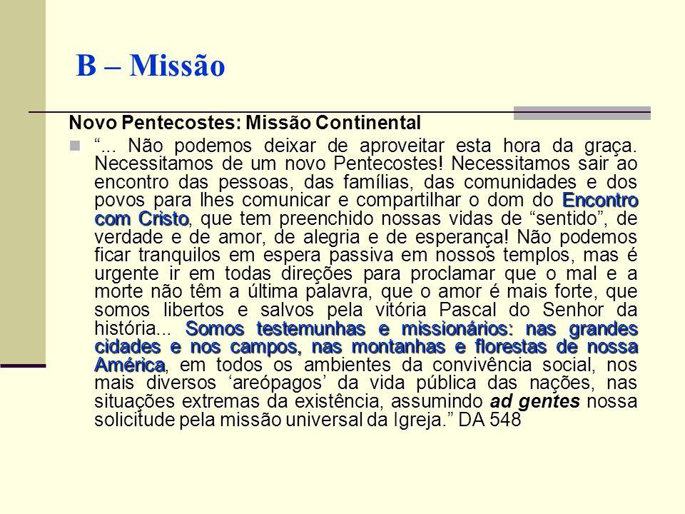 """B – Missão Novo Pentecostes: Missão Continental """"... Não podemos deixar de aproveitar esta hora da graça. Necessitamos de um novo Pentecostes! Necessi"""