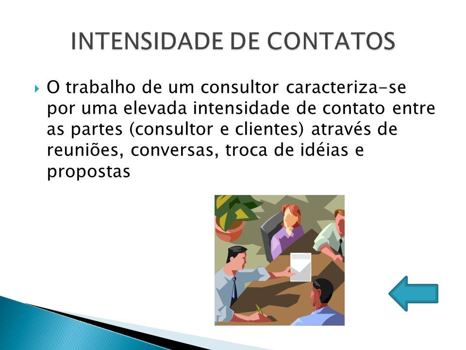  O trabalho de um consultor caracteriza-se por uma elevada intensidade de contato entre as partes (consultor e clientes) através de reuniões, convers