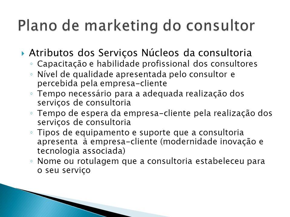  Atributos dos Serviços Núcleos da consultoria ◦ Capacitação e habilidade profissional dos consultores ◦ Nível de qualidade apresentada pelo consulto