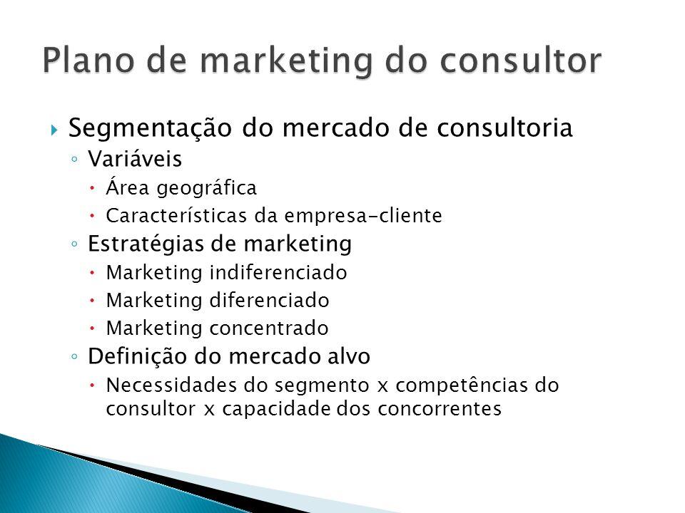  Segmentação do mercado de consultoria ◦ Variáveis  Área geográfica  Características da empresa-cliente ◦ Estratégias de marketing  Marketing indi