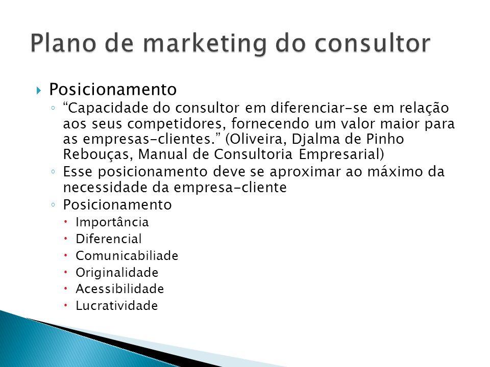 """ Posicionamento ◦ """"Capacidade do consultor em diferenciar-se em relação aos seus competidores, fornecendo um valor maior para as empresas-clientes."""""""