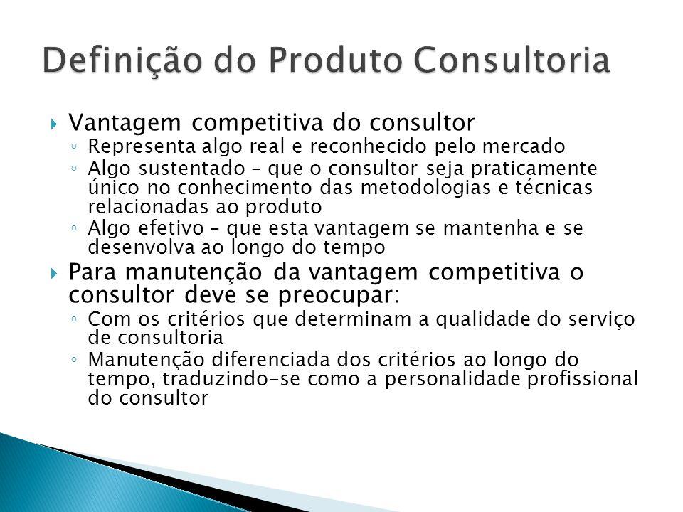  Vantagem competitiva do consultor ◦ Representa algo real e reconhecido pelo mercado ◦ Algo sustentado – que o consultor seja praticamente único no c