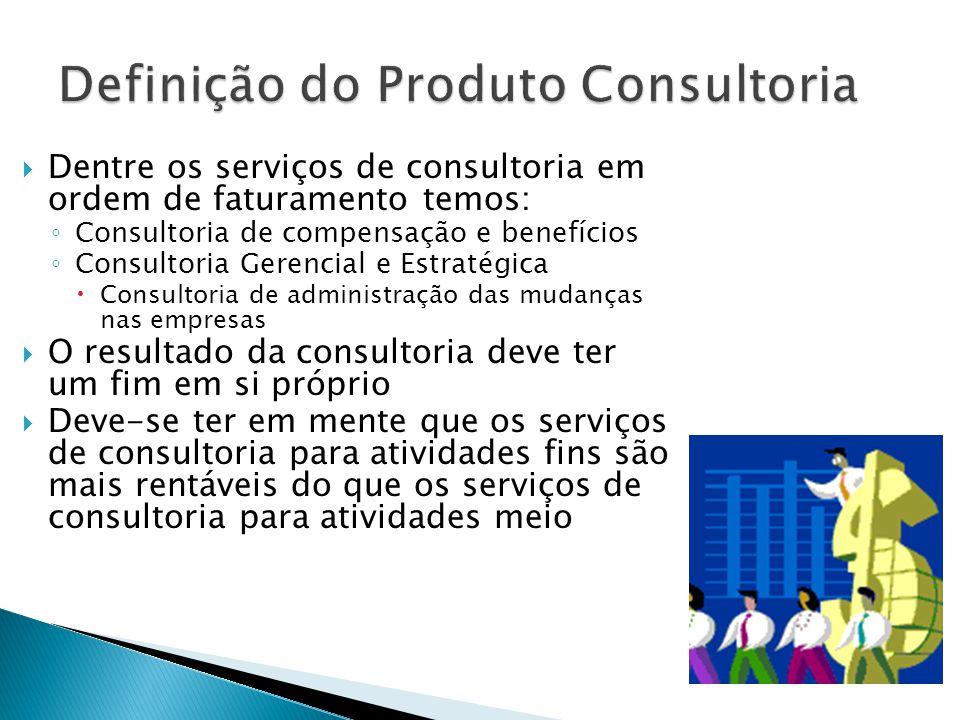  Dentre os serviços de consultoria em ordem de faturamento temos: ◦ Consultoria de compensação e benefícios ◦ Consultoria Gerencial e Estratégica  C