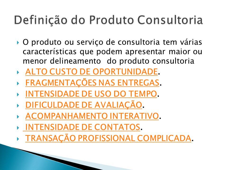  O produto ou serviço de consultoria tem várias características que podem apresentar maior ou menor delineamento do produto consultoria  ALTO CUSTO