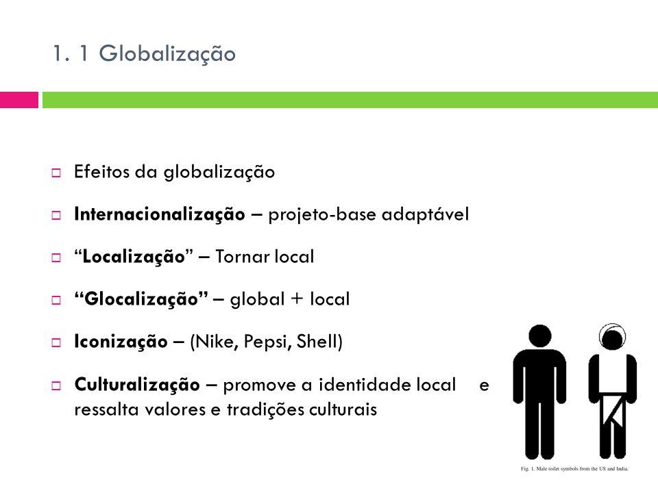 """1. 1 Globalização  Efeitos da globalização  Internacionalização – projeto-base adaptável  """"Localização"""" – Tornar local  """"Glocalização"""" – global +"""