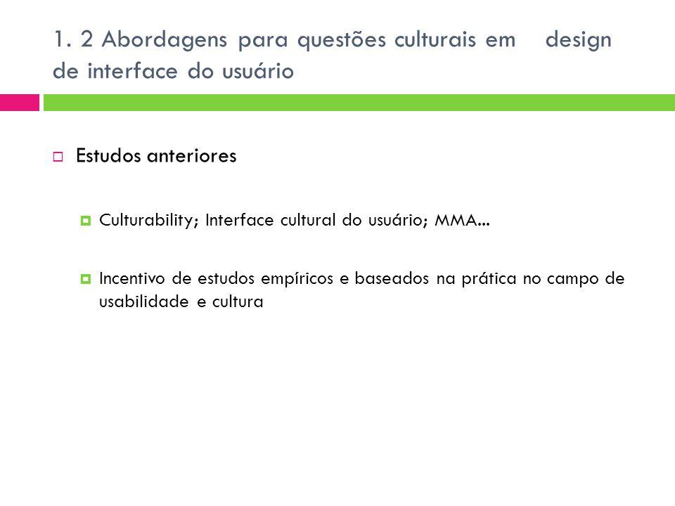  Estudos anteriores  Culturability; Interface cultural do usuário; MMA...