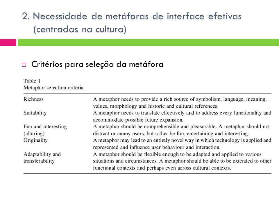 2. Necessidade de metáforas de interface efetivas (centradas na cultura)  Critérios para seleção da metáfora